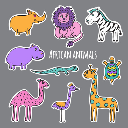 cartoon camel: A collection of African animals, drawn and cut from white paper.