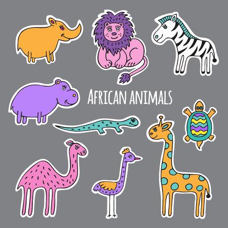 lijntekening: Een collectie van Afrikaanse dieren, getrokken en gesneden uit wit papier.