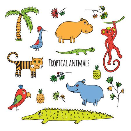 dessin fleur: Les animaux de la for�t tropicale. Sketch trac� manuel sur un fond blanc.