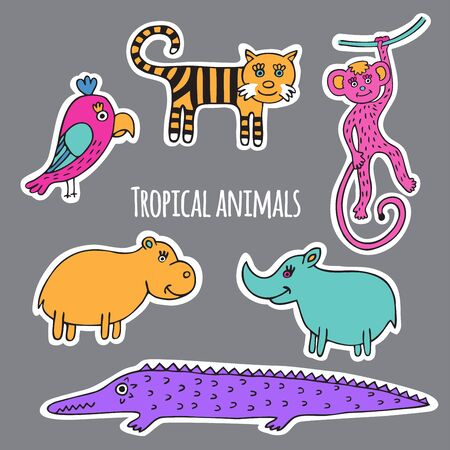 zoo cartoon: Collection of rainforest animals, drawn and cut from white paper.