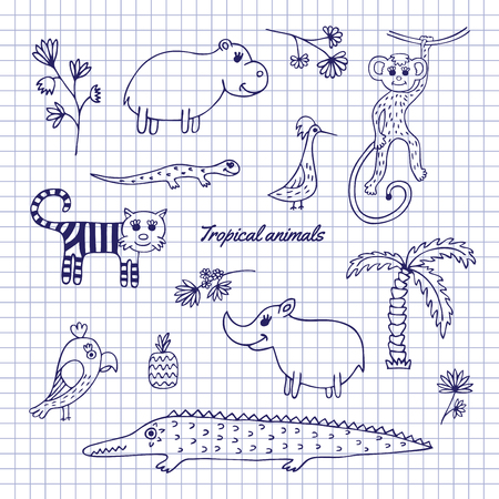 hipopotamo caricatura: Animals, plants and birds of the rainforest drawn on notebook sheet. Sketch pen