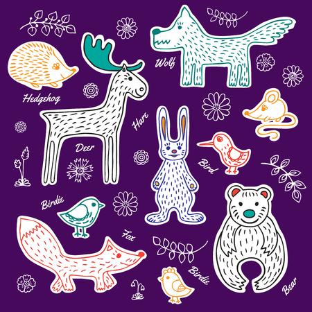 patrones de flores: y corte de papel blanco colección de animales del bosque y las aves dibujado a mano. Vectores