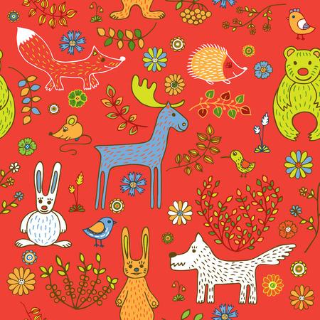 patrones de flores: patr�n sin fisuras en el tema de un bosque de la primavera. Animales, aves y plantas sobre un fondo rojo. Vectores