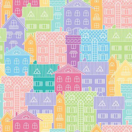 case colorate: Seamless pattern con case colorate.