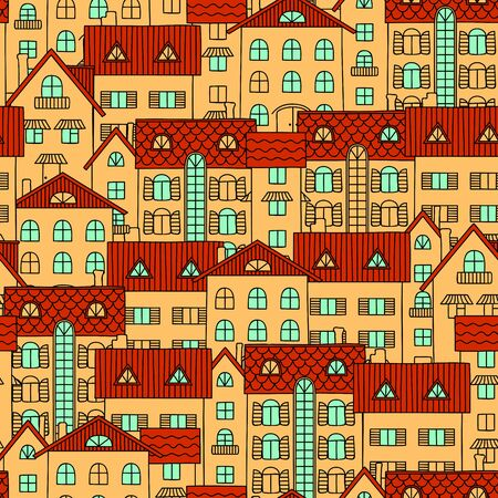 midday: Yellow houses with red roofs. Seamless pattern of drawn by hand. Illustration