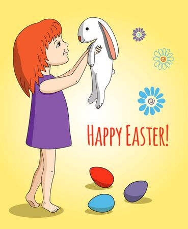 stroking: Happy Easter. Girl with rabbit in her arms. Colored eggs and flowers. Yellow background.