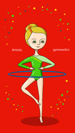 leotard: Artistic gymnastics. Gymnast in green leotard with a blue Hoop on a red background. Illustration
