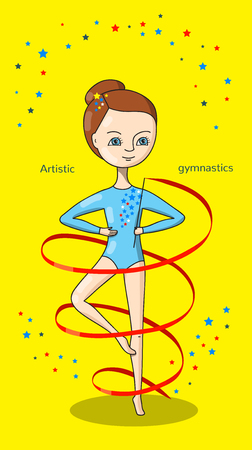 leotard: Artistic gymnastics. Gymnast in a blue leotard with a red ribbon on a yellow background.