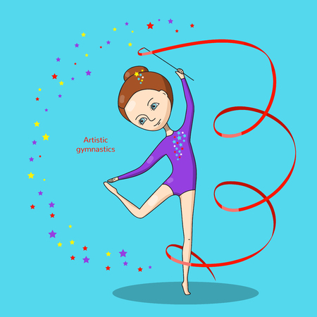 flexible girl: Artistic gymnastics. Gymnast in a purple leotard with a red ribbon on a blue background.