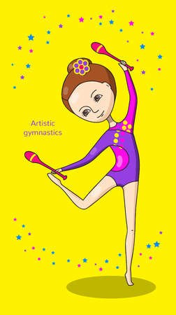 leotard: Artistic gymnastics. Gymnast in purple and pink leotard with a pink clubs. Yellow background with stars.