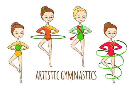 leotard: Artistic gymnastics. A set of gymnasts with various exercise equipment.