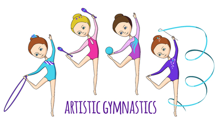 leotard: Artistic gymnastics. 4 girls-gymnasts with different exercise equipment. Illustration