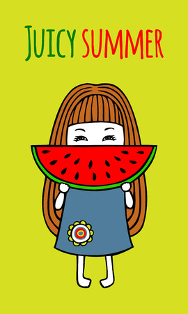 piece: A little girl with a big piece of juicy watermelon.