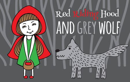 grey wolf: Red Riding Hood and Grey Wolf. image of hand-drawn. Girl in a red Cape with a basket in his hands and the wolf in a dark forest.