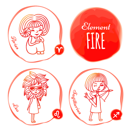 aries zodiac: horoscope . Set of 3 zodiac signs of elements of fire: Aries, Leo and Sagittarius. Little girls drawn with a red outline. Imitation of watercolor.