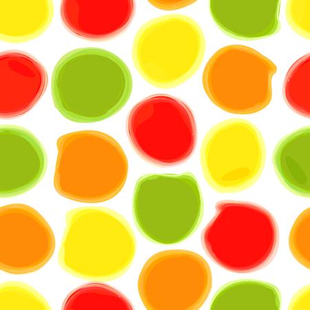 Seamless pattern di macchie acquerello colorato. I cerchi disegnati ad acquerello su carta bianca. Sfondo può essere utilizzato per la stampa su tessuto, carta da imballaggio e carta da parati.