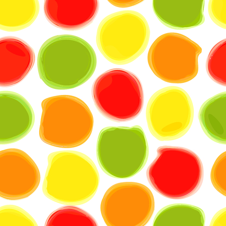 Seamless pattern of colored watercolor stains. The circles drawn in watercolor on white paper. background can be used for printing onto fabric, wrapping paper and Wallpaper. Illustration
