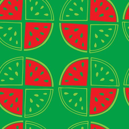form a circle: Green background with slices of watermelon. Seamless pattern . Of the watermelon form a circle and are straight lines.