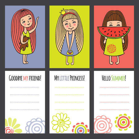 occasions: Funny characters . Girl with toy, a Princess and a girl with a watermelon. Colorful cards for different occasions. White background for your text.