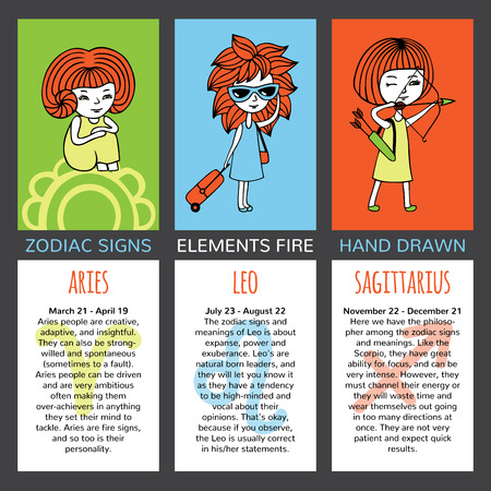 characteristics: Zodiac signs and their characteristics. The set of three cards. Elements fire. Aries, Leo, Sagittarius. Girls  on brightly colored backgrounds. Mark and description on a white background. Illustration