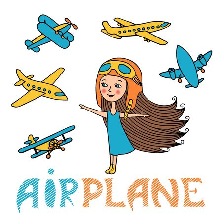 airline pilot: The airplanes and child is hand-drawn. Girl in retro hat airline pilot. Colorful aircraft in Doodle style. set kids and planes. Sketch of a girl pilot and aircraft in the sky.
