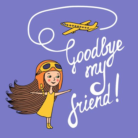 yellow dress: The card is hand-drawn. Sketch of girl in yellow dress and in air helmet plays with paper airplanes. The inscription drawn with a brush. White letters on a purple background.