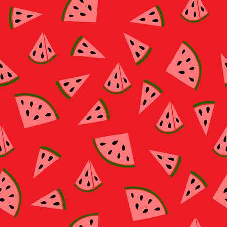 red wallpaper: Slices of juicy watermelon on a red background. Perfect for printing on fabric, wrapping paper, Wallpaper. Illustration