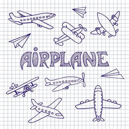 avion caricatura: El avi�n es dibujado a mano. Bosquejo de la pluma de la aeronave en la hoja del cuaderno. La inscripci�n hecha a mano.