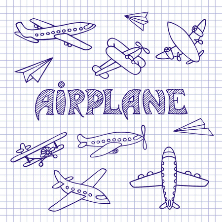 inscription notebook: The aircraft is hand-drawn. Sketch of aircraft pen on notebook sheet. The inscription made by hand.