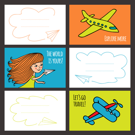 aerospace: set of colorful cards. Blanks for business cards. Cute girl and planes hand-drawn in Doodle style. Collection of templates for printing. Sketch of kid and planes.