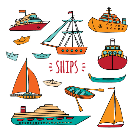 cruise liner: set of Maritime transport in Doodle style. Ship, boat, vessel, ship, paper ship, cruise liner, yacht, gondola. Isolated objects on white background.