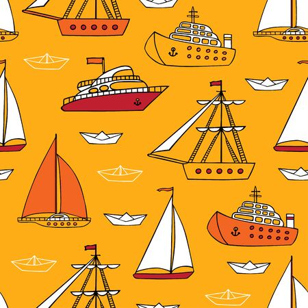 nautical vessels: Colorful seamless marine pattern. Various cartoon nautical vessels on yellow background.