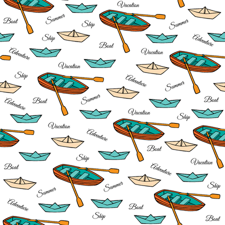 rowing boat: Rowing boat paper boats and hand-drawn on a white background. Seamless pattern in cartoon style. Vector illustration of Doodle.