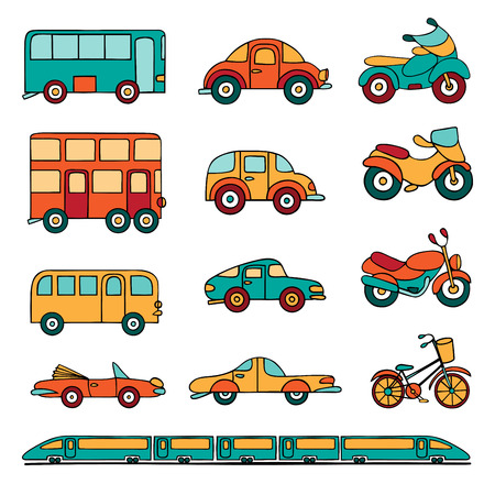 Vector set of cartoon land transport. Colorful cars, buses, motorcycles, and a train drawn by hand in cartoon style.