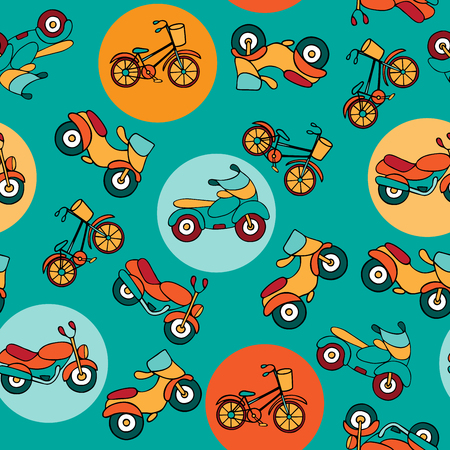 mopeds: Seamless pattern with circles and motorcycles. Mopeds and motorbikes hand-drawn in a cartoon style. Urban transport on turquoise background with colorful circles.