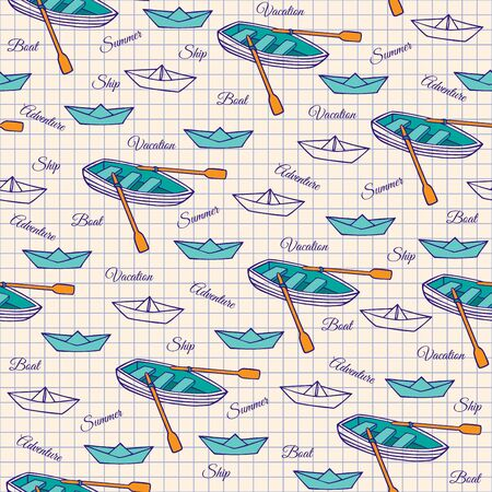 rowing boat: Sketch of a rowing boat and paper boats. Seamless pattern on notebook sheet. Vector illustration of hand-drawn.