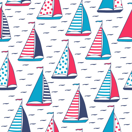 cruising: Sails in polka dots and stripes. Seamless pattern in cartoon style. Sailboats hand-drawn. Vector illustration.