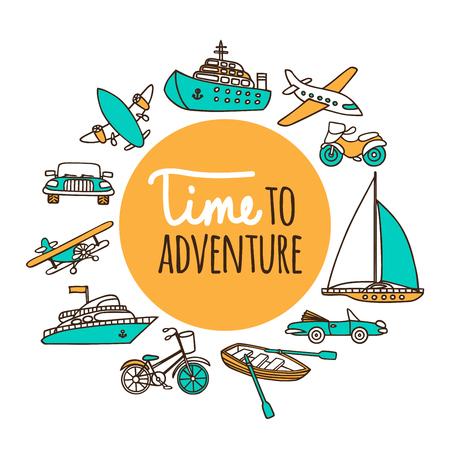 冒険する時間。旅客輸送を設定します。飛行機、船、車、ボート、白地に手描き下ろしベクトル イラスト漫画のスタイルで。  イラスト・ベクター素材