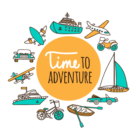 Time to adventure. Set passenger transport. Planes, ships, cars, and boats drawn by hand on a white background. Vector illustration in cartoon style.