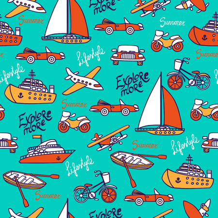 Seamless pattern with different transport on a turquoise background. Cars, planes, ships, motorcycles hand-drawn in a cartoon style. Vector illustration. Inscriptions with a brush.