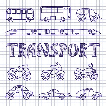 autobus: Set ground transport sketch. Cars, buses, motorcycles, train hand-drawn on notebook sheet. Vector illustration in Doodle style.