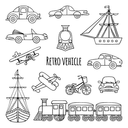 portage: Set of retro transport. Black-and-white drawings by hand. Cars, locomotive, sailboat, plane, bicycle