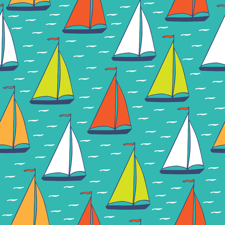 Colorful yachts sailing on turquoise background. Seamless pattern hand-drawn. Vector image in cartoon style.