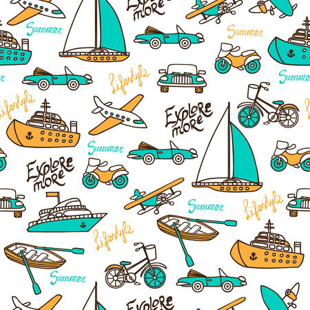 Seamless pattern with different transport on a white background. Cars, planes, ships, motorcycles hand-drawn in a cartoon style. Vector illustration. Inscriptions with a brush.