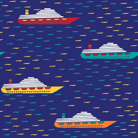 Seamless pattern of ships. Boats drawn by hand in cartoon style on dark background with waves. Vector illustration. Illustration