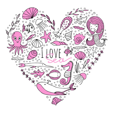 pink dolphin: Marine animals and plants arranged in the shape of a heart. The words I love sea . Vector image drawn by hand in cartoon style.