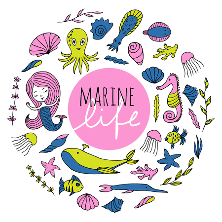 Marine animals, plants and mermaid are arranged in a circle. The inscription Marine life . Vector image drawn by hand in cartoon style. Illustration