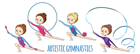 leotard: Artistic gymnastics. Set of fo girls-gymnasts with different exercise equipment.