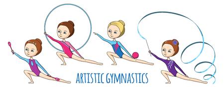 Gimnasia artística. Conjunto de fo-niñas gimnastas con diferentes equipos de ejercicio. Foto de archivo - 59952005