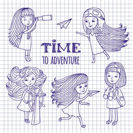 travelers: Hand drawn funny romantic girl, cartoon characters, doodles. Set of cute girls women travelers. Sketch pen on notebook sheet.